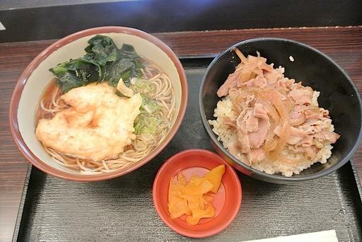 鶏天そばと生姜焼き丼