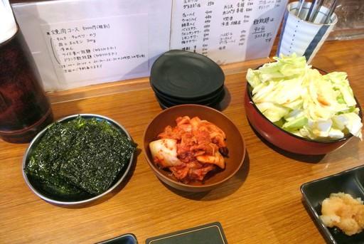 韓国海苔、キャベツ、キムチ