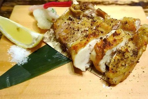 若鶏もも肉の祇園原了郭の黒七味焼き