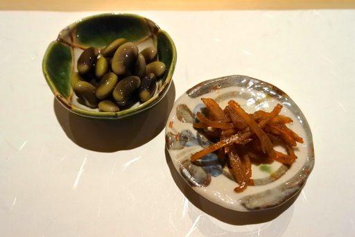 鞍掛豆の浸し豆と超熟成 イカの塩辛