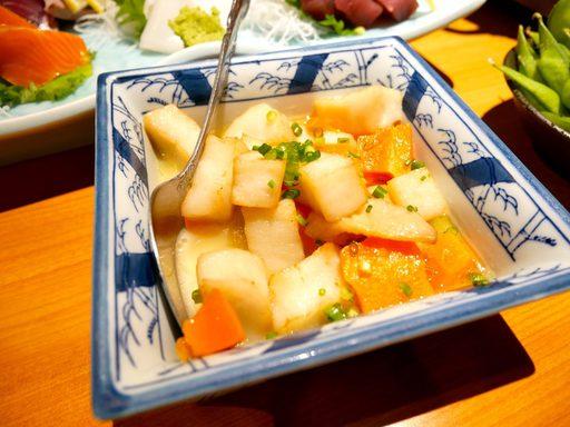 白身魚のすり身たっぷり真丈煮込み~菜花添え~