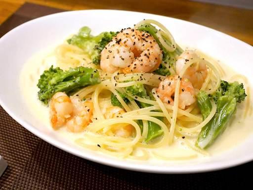 小海老とブロッコリーのクリームスパゲティ