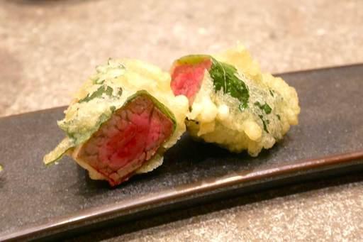 シャトーブリアンの天ぷら トリュフ塩を添えて