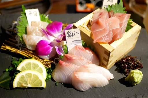 本日の鮮魚のお造り三種盛合せ