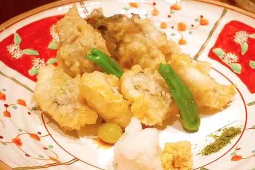 穴子と牡蠣の天ぷら