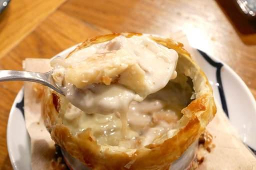 燻製牡蠣のクリーム煮、パイ包み