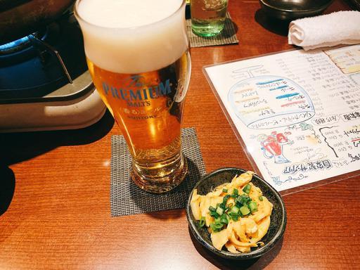 生ビールとメンマ